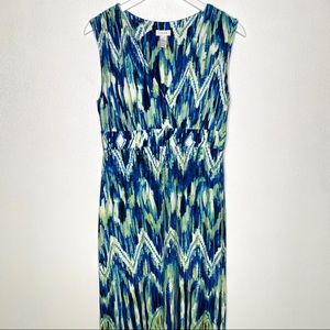 CHICO'S Maxi Teal Green Sleeveless Dress Size 8